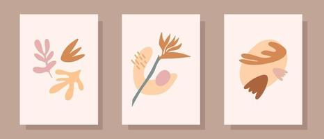 Set of abstract hand painted illustrations in pastel colors. Hand drawn vases , leaves. Collection of contemporary art posters. Abstract geometrical elements, shapes for print, social media, posters vector