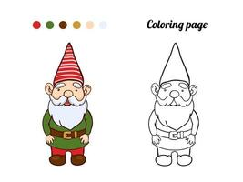 Illustration of cute garden gnome. Coloring page or book for baby vector