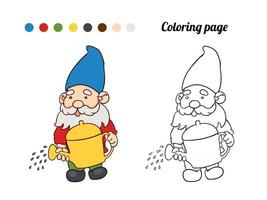Illustration of cute garden gnome with a watering can. Coloring page or book for baby vector