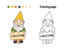 Illustration of cute garden gnome stands with a pointer welcome. Coloring page or book for baby vector