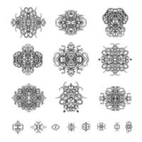 Vector black outline set of ornamental patterns in the oriental style.