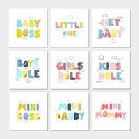 Vector set of illustrations with hand drawn lettering - Kids Rule. Colorful typography design in Scandinavian style for postcard, banner, t-shirt print, invitation, greeting card, poster