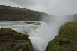 Gullfoss waterfall on Hvita river in Iceland photo