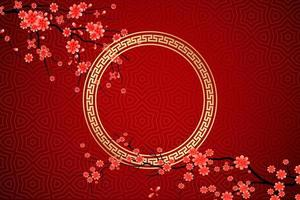 happy chinese new year sakura flowers red background vector