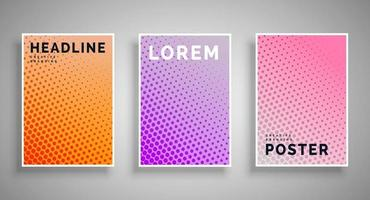 Set of cover templates with halftone effect Rounded perforated smooth shapes in different colors Vector illustration