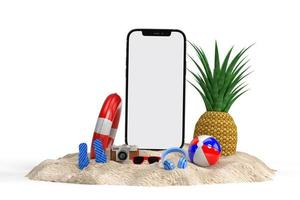 Summer scene concept with decorative beach objects mockup photo