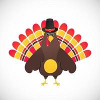 Thanksgiving day symbol red feathers turkey  with pilgrim hat flat style gradient design vector illustration. Cute cartoon mascot holidays autumn harvest character isolated on white background.