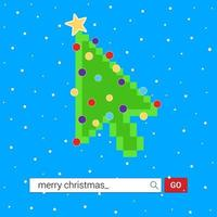 Computer mouse cursor arrow pointer like green christmas tree with balls and star. Merry Christmas and Happy New Year to you Flat style design vector illustration isolated on white background.