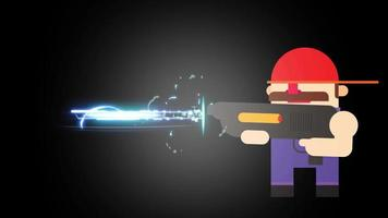 A man with mustache and red cap shooting a laser gun. With audio. video