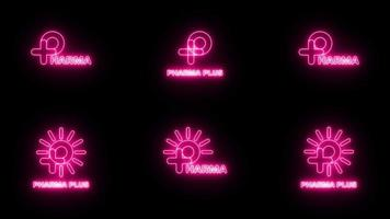 Set of Neon pink sign P logo banner background. Animation motion graphic video. P with plus and sun logo. Medical logo. FONT Jellee OFL Apache LICENSES. video
