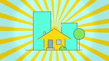 Concept of construction flat style house and rotation sun, isolated on blue background. Beautiful large building appearing on the background. New home, moving, real estate and relocation concept. Flat cartoon animation. Motion graphic animation. video