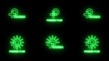 Satz von neongrünem Zeichen p Logo-Banner-Hintergrund. Animations-Motion-Grafik-Video. p mit Plus- und Sonnenlogo. medizinisches Logo. font jellee ofl apache lizenzen. video