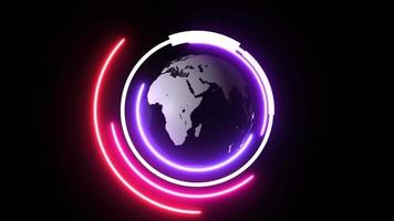 World spinning with neon circle technology background video