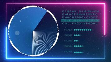Radar arbeitet mit Textcode und Statusleistenhintergrund mit Neonrahmen video