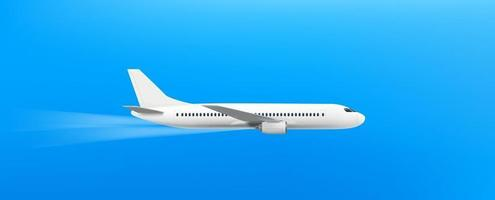 Modern aircraft flying in blue sky vector