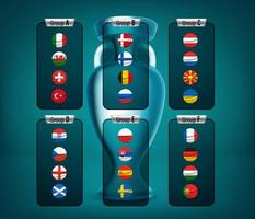 Soccer tournament group scheme with flags vector