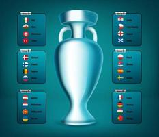Soccer tournament group scheme with flags and cup vector