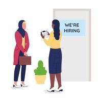 Muslim girl seek employment semi flat color vector character