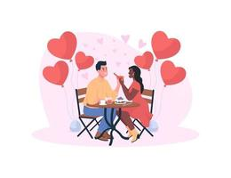 Marriage proposal on romantic dinner flat concept vector illustration