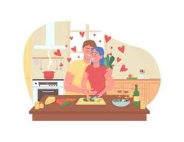 Couple cooking romantic dinner 2D vector web banner