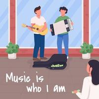 Music is who i am social media post mockup vector