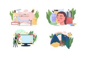 Popular professions flat concept vector illustration set