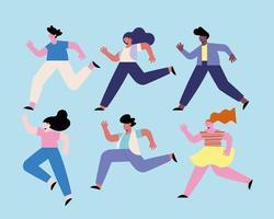 six diversity people running vector