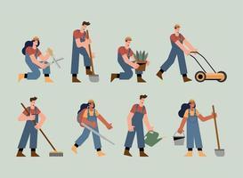 eight gardeners characters vector