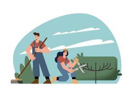 couple gardeners characters vector