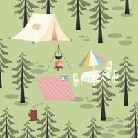 camping adventure scene vector