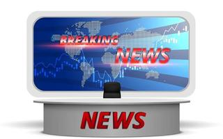 white table with breaking news on led screen background in the news studio room vector