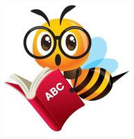 Cartoon cute bee wearing glasses carrying an red education book vector