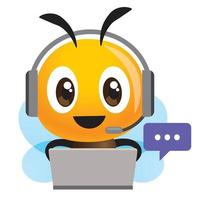 Smiling bee operator with headset working at call center communicating with customer vector