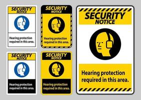 Security Notice PPE Sign Hearing Protection Required In This Area with Symbol vector