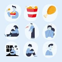nine panic attack icons vector