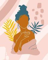 brunette woman and leafs vector