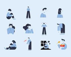 twelve panic attack icons vector