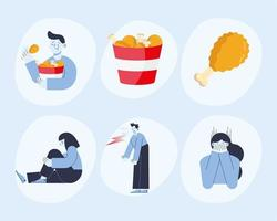 panic attack six icons vector