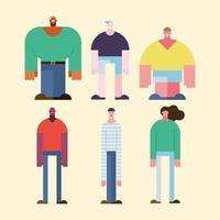 six diversity people vector