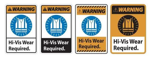 Warning Sign Hi Vis Wear Required vector