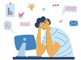 Exhausted tired male manager in office sad sitting with head down Burnout concept illustration with exhausted man office worker sitting at the table Stressful work Stress at workplace Vector