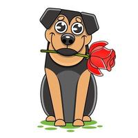 Hand Drawn fashion illustration of romantic bullterrier doggy with rose vector