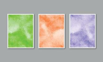 Set of watercolor hand painted background texture aquarelle abstract emerald backdrop horizontal template vector