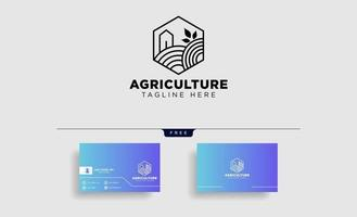 agriculture eco nature green line art logo template icon element isolated vector
