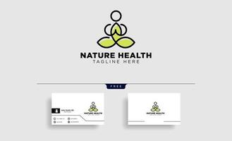 human yoga and leaf logo template vector illustration icon element isolated