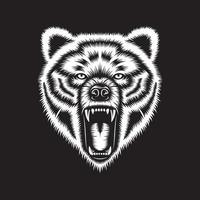 Angry Grizzly Bear Head On Black vector