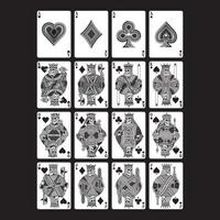 Skull Playing Cards Set In Black and White vector