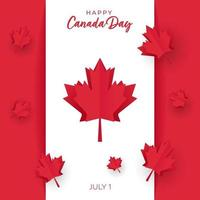 Canada Day card with Flag and Paper cut Maple Leaves vector