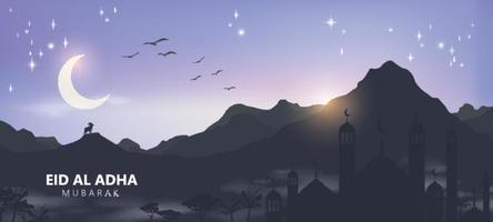 Eid al adha mubarak the celebration of muslim community festival background design vector