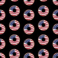 Vector seamless pattern of Glazed donut with the flag of the USA